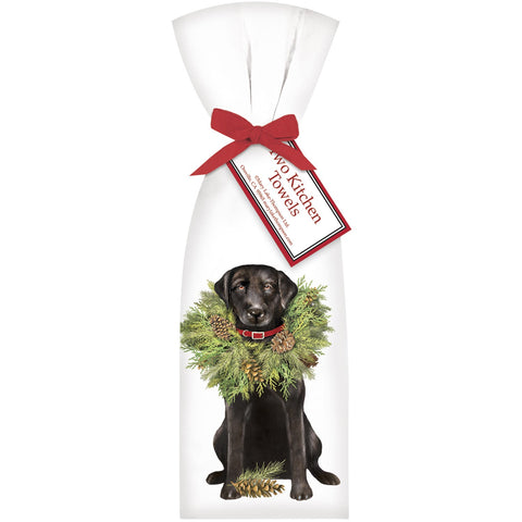 Mary Lake-Thompson Black Lab with Wreath Flour Sack Dish Towels, Set of 2