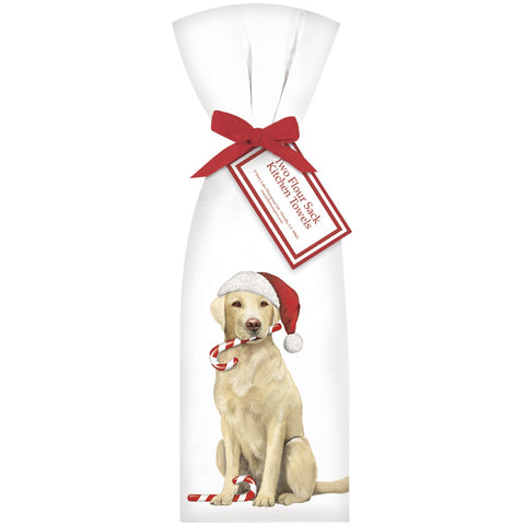 Mary Lake-Thompson Yellow Lab with Santa Cap Flour Sack Dish Towels, Set of 2