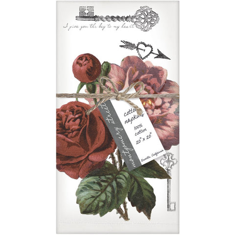 Montgomery Street Roses Cotton Napkins, Set of 4 - The Barrington Garage