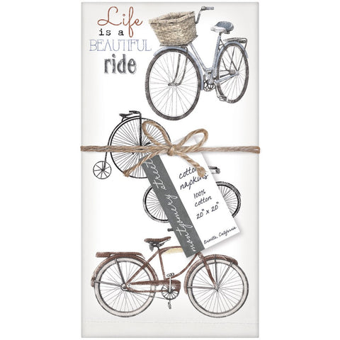 Montgomery Street Beautiful Ride Bike Collage Cotton Napkins, Set of 4