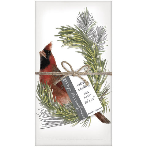 Montgomery Street Cardinal on Pine Branch Cotton Napkins, Set of 4