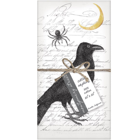 Montgomery Street Raven and Spider Cotton Napkins, Set of 4 - The Barrington Garage