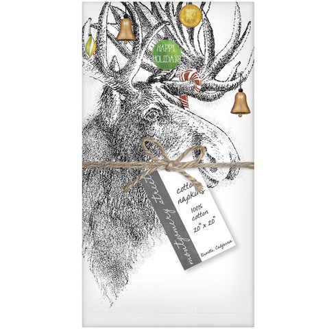 Montgomery Street Holiday Moose Cotton Napkins, Set of 4 - The Barrington Garage