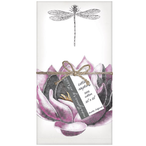 Montgomery Street Lotus Flower and Dragonfly Cotton Napkins, Set of 4 - The Barrington Garage