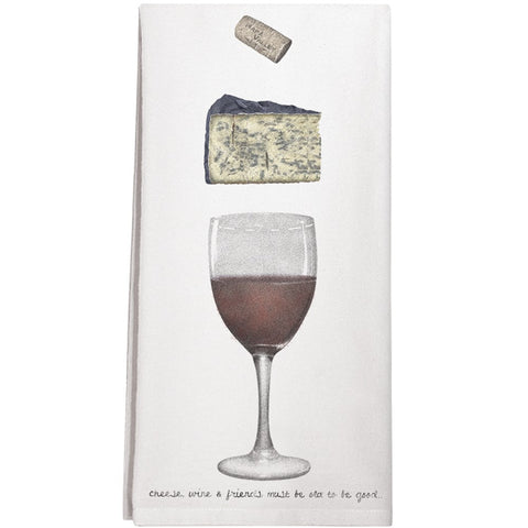 Montgomery Street Wine and Cheese Cotton Flour Sack Dish Towel