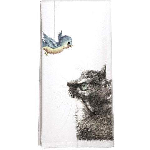 Montgomery Street Cat and Bird Cotton Flour Sack Dish Towel