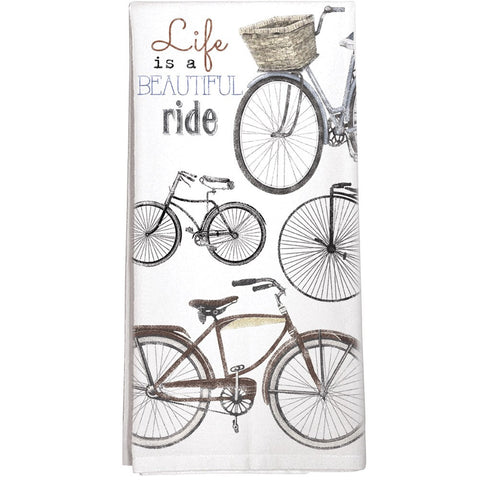 Montgomery Street Beautiful Ride Bike Collage Cotton Flour Sack Dish Towel