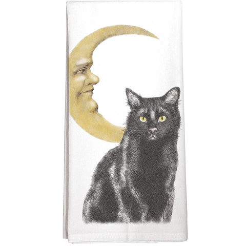 Montgomery Street Black Cat with Cresent Moon Cotton Flour Sack Dish Towel