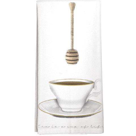 Montgomery Street Teacup and Honey Dipper Cotton Flour Sack Dish Towel