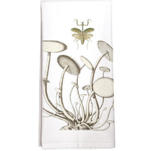 Montgomery Street Mushrooms Praying Mantis Cotton Flour Sack Dish Towel