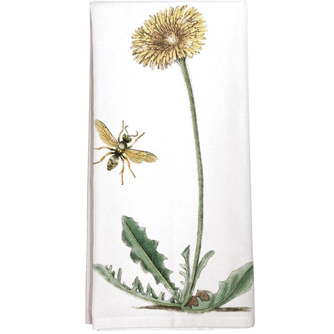 Montgomery Street Dandelion and Bee Cotton Flour Sack Dish Towel