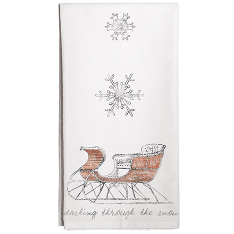 Montgomery Street Christmas Sleigh Cotton Flour Sack Dish Towel - The Barrington Garage