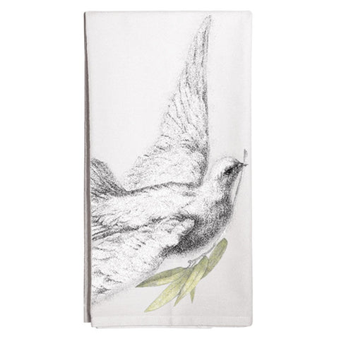 Montgomery Street Dove with Olive Branch Cotton Flour Sack Dish Towel