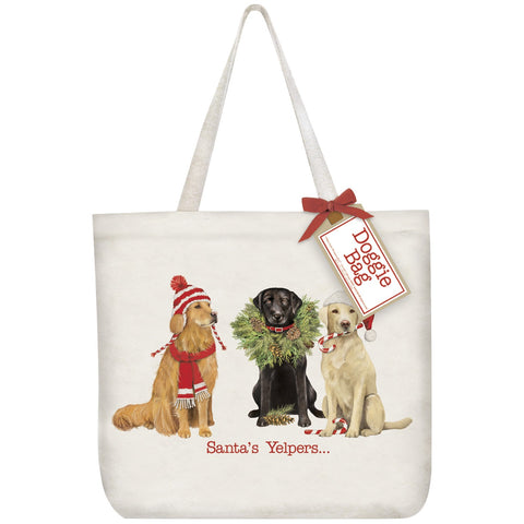 Mary Lake-Thompson Santa's Yelpers Cotton Canvas Tote Bag