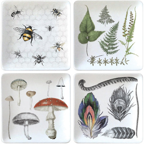 Montgomery Street Nature Themed 4.75-inch Square Stoneware Plates, Set of 4