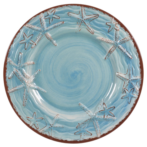 Merritt Sealife Starfish 11-inch Melamine Dinner Plates, Turquoise, Set of 6