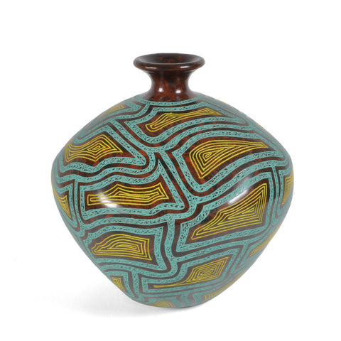 Nicaraguan Pottery 8-inch Carved Octagonal Vase, Turquoise/Yellow/Brown