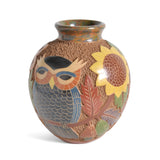"Nicaraguan Pottery 6.5"" Carved Owl Vase - The Barrington Garage"