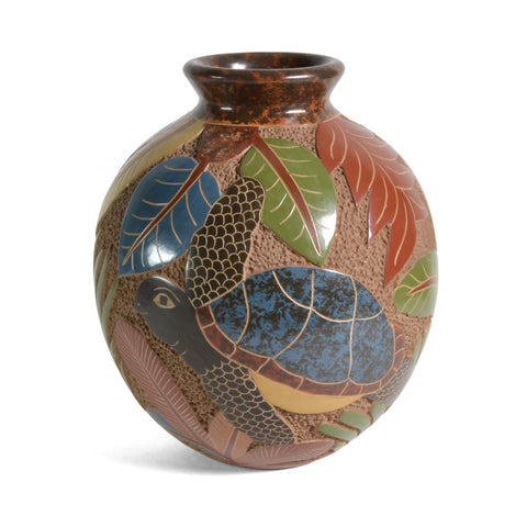"Nicaraguan Pottery 6.5"" Carved Sea Turtle Vase - The Barrington Garage"