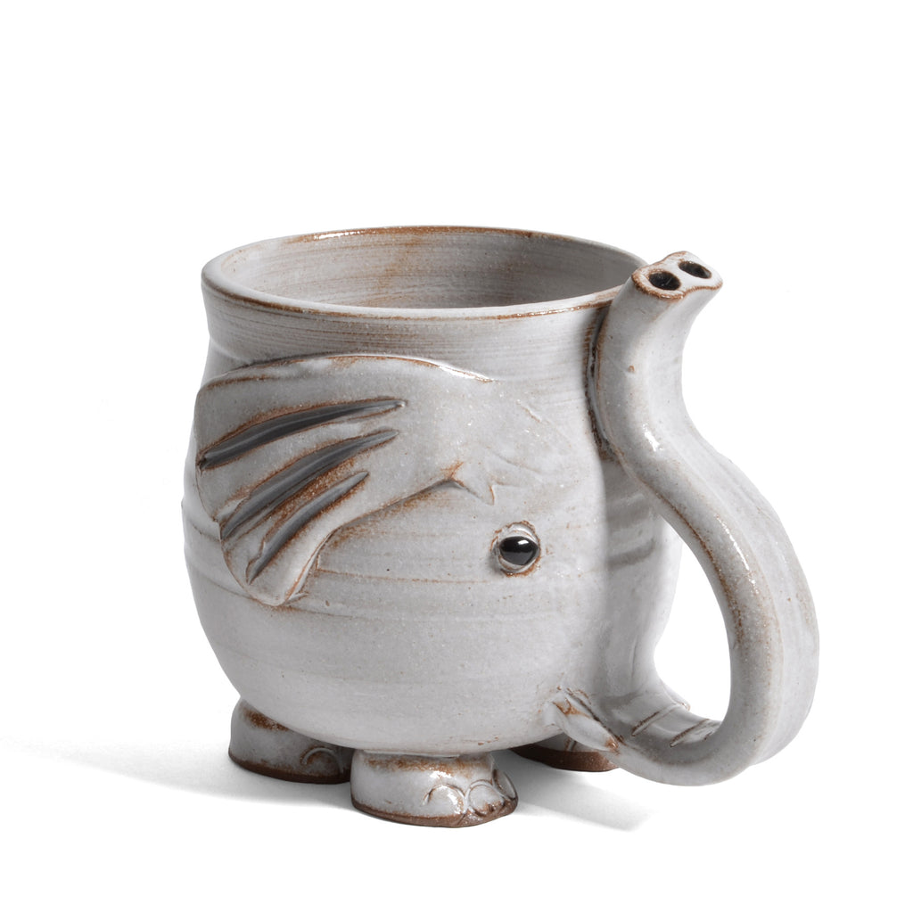 Mudworks Pottery Footed Elephant Mug With Raised Trunk