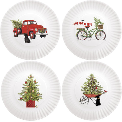 Mary Lake-Thompson Holiday Truck 8.75-inch Melamine Plates, Set of 4