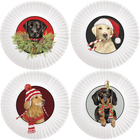Mary Lake-Thompson Holiday Dogs 7.5-inch Melamine Appetizer Plates, Set of 4