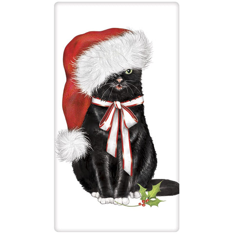 Mary Lake-Thompson Black Cat with Santa Cap Cotton Flour Sack Dish Towel BT93