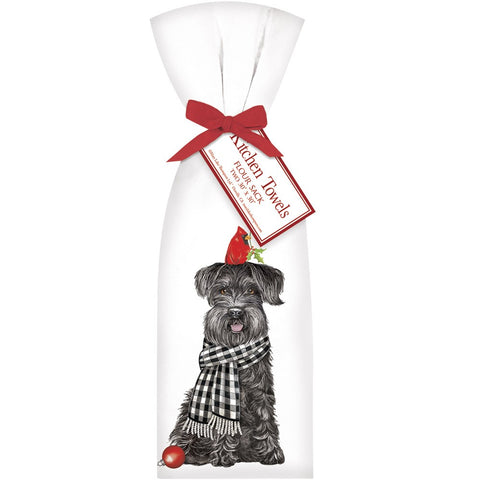 Mary Lake-Thompson T102 Schnauzer with Cardinal Flour Sack Dish Towels, Set of 2