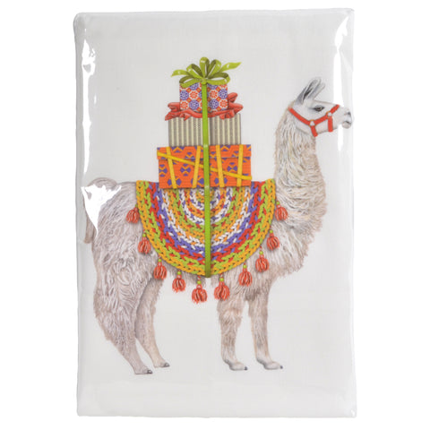 Mary Lake-Thompson Christmas Llama Cotton Flour Sack Dish Towel