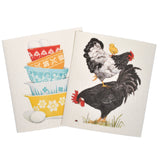 Mary Lake-Thompson Vintage Bowls and Chickens Sponge Cloths, Set of 2, Machine Washable, Biodegradable