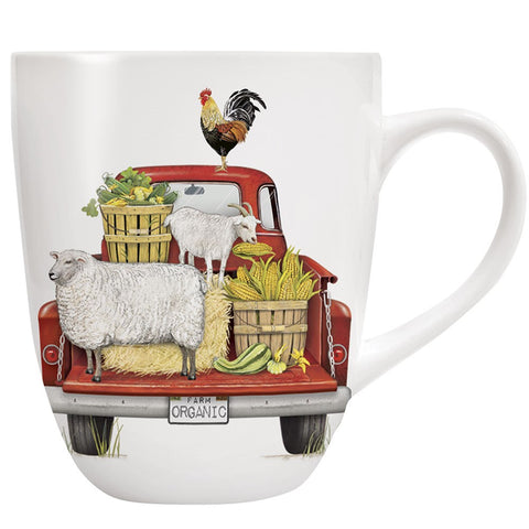 Mary Lake-Thompson Red Truck with Farm Animals 10-ounce Stoneware Mug