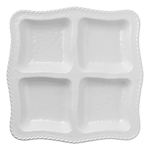 Merritt 21389 White Nautical Rope 13.5-inch Divided Melamine Chip & Dip Platter