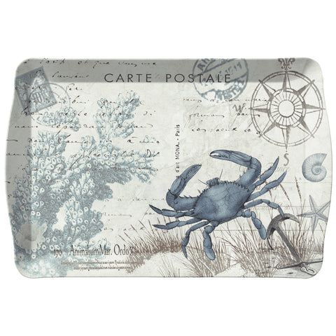 Merritt Seaside Postcard Crab 17-inch Rectangular Melamine Tray, Blue/Multi 21548