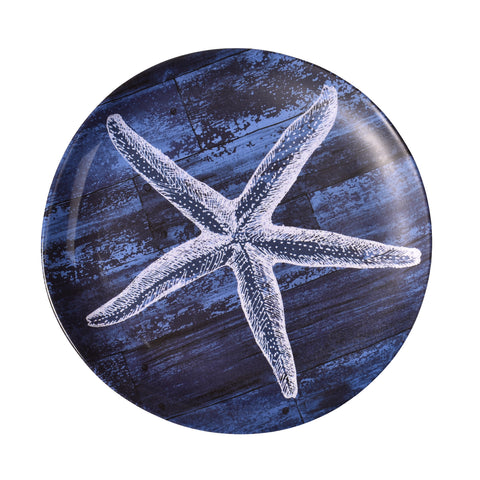 Merritt Silver Shell Starfish 8-inch Melamine Salad Plate, Set of 6