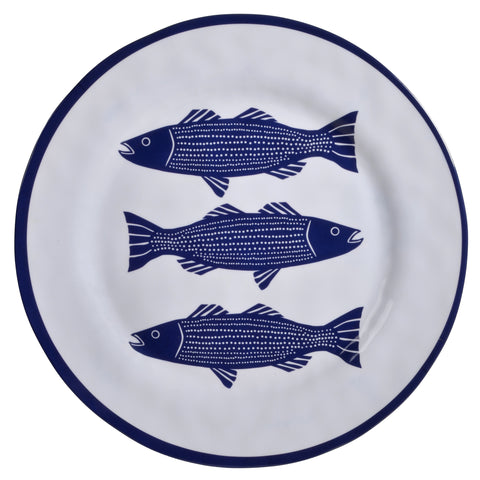 Merritt Striper by Kate Nelligan 11.5-inch Melamine Dinner Plate, Set of 6