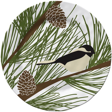 Merritt Chickadee & Pine by Kate Nelligan 11.5-inch Melamine Dinner Plate, Set of 6