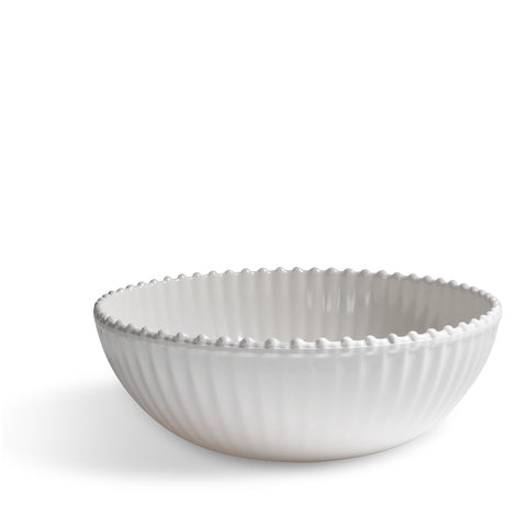 Merritt Beaded Pearl 12-inch Melamine Serving Bowl, Cream