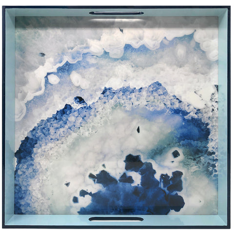 Merritt Designs Handmade 15.5-inch Square Lacquered Tray, Crystal Blue Agate