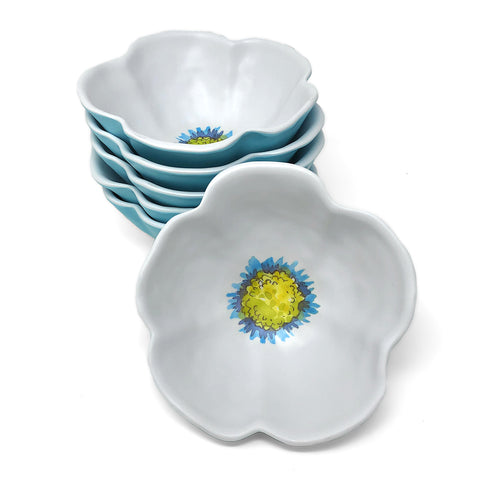 Merritt Floral Sketchbook 6-inch Melamine Salad Bowl, Blue, Set of 6