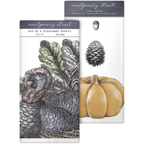 Montgomery Street Turkey and Pumpkin Cotton Flour Sack Dish Towels, Set of 2
