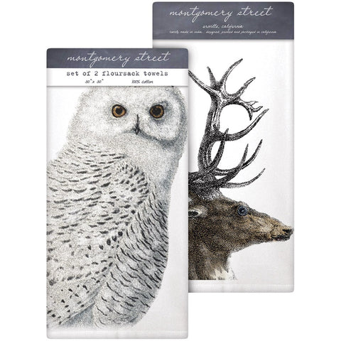 Montgomery Street Snowy Owl/Deer Antlers Cotton Flour Sack Dish Towels, Set of 2
