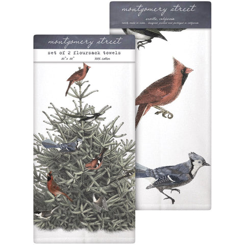 Montgomery Street SLTTS173 Pine Tree and Birds Cotton Flour Sack Dish Towels, Set of 2