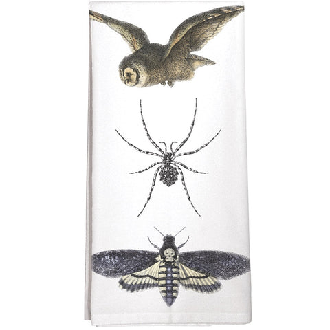 Montgomery Street Owl, Spider, and Moth Cotton Flour Sack Dish Towel