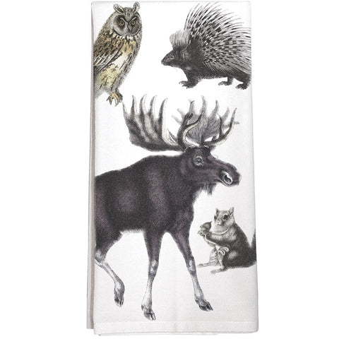 Montgomery Street Woodland Creatures Cotton Flour Sack Dish Towel