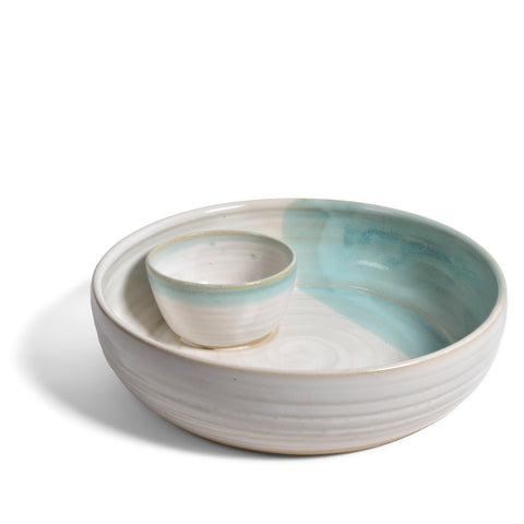 Mosquito Mud Pottery Chip and Dip Bowl, Aqua