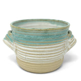 Mosquito Mud Pottery Bread Baker Deep Dish Casserole with Handles, Aqua Stripe