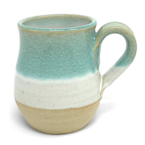 Mosquito Mud Pottery Classic Coffee Mug, Aqua Stripe