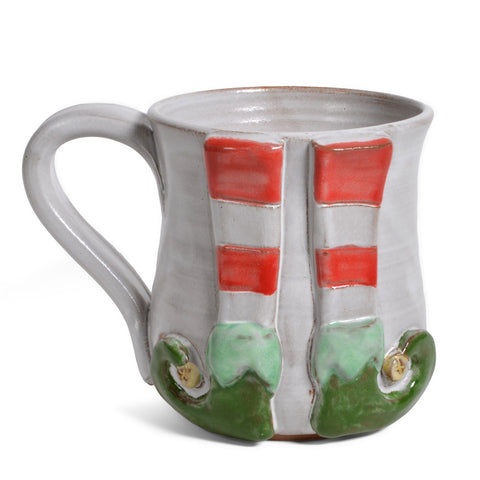 MudWorks Pottery Elf Christmas Coffee Mug, Handmade in the USA
