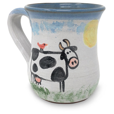 MudWorks Pottery Cow with Cardinal Mug