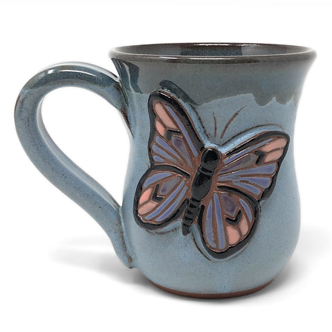 MudWorks Pottery Carved Butterfly Mug